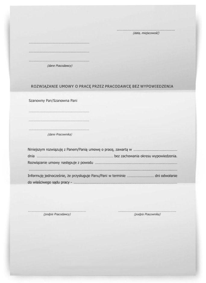 Oświadczenie o rozwiązaniu umowy o pracę