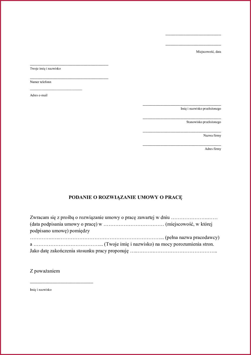 Podanie o rozwiązanie umowy o pracę