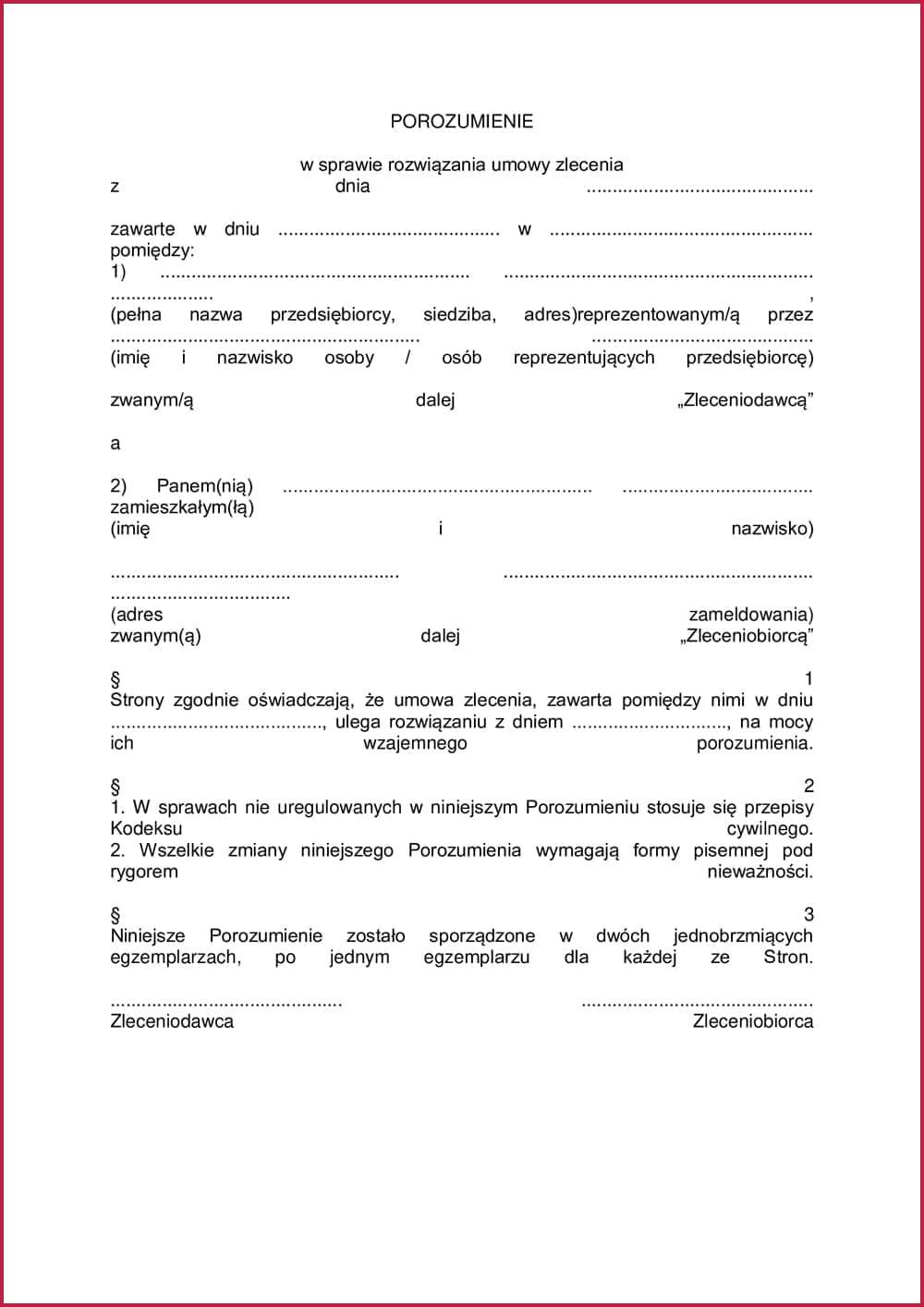 Соглашение о расторжении трудового договора в Польше